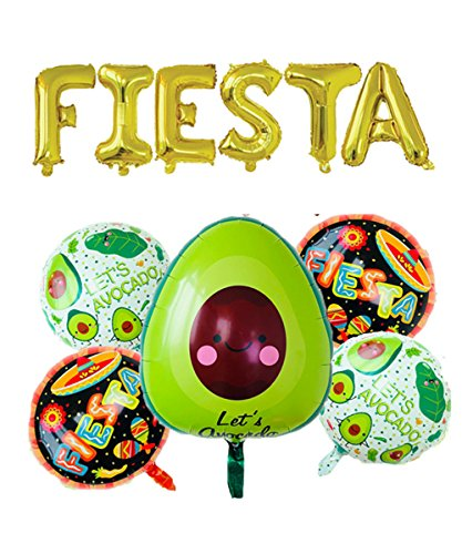 Rose&Amp;Wood Fiesta Foil Letter Balloons With 5 Pcs Avocado Fiesta Balloons For Cinco De Mayo Party, Taco Party, Fiesta Party,16 , Gold