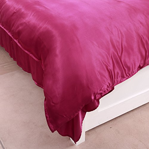 Uxcell 4Pcs Wine Red Satin Silk Like Solid Color Bedding Set Duvet Cover Silk Pillow Shams Silk Sheet Comforter Cover Sets, Twin Xl Size
