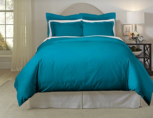 Pointehaven 620-Fqte 620Tc Long Staple Cotton Oversized Duvet Set,Teal,Full / Queen