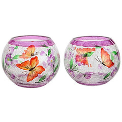 Home-X Handpainted Blossoms And Butterflies Candleholders. Crackle Glass Candle Holders. Set Of 2