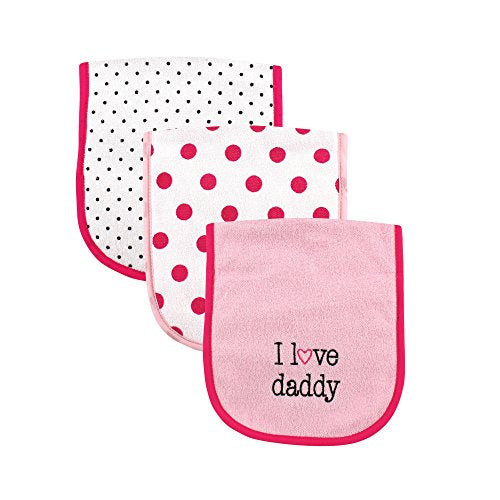 Luvable Friends 3 Piece Burp Cloth With Fiber Filling For Girls, I Love Daddy