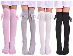 Toptim 4 Pairs Girl'S Knee High Socks Over Calf Kids Overknee Stockings, Pink/Black/Grey/White, Size: Approx 16 Inch Length , 3.5 Width In Inches. Suitable For 2-8 Years Olds