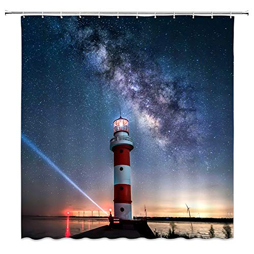 Bcnew Lighthouse Shower Curtain Decor Dark Blue Starry Sky Lighthouse Seaside Blue Yellow Red Light 70 X 70 Inches Waterproof Mildew Resistant Polyester Fabric Machine Washable With 12Pcs Hooks