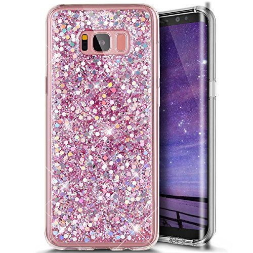 Galaxy S8 Plus Case,Galaxy S8 Plus Glitter Case,Phezen Shiny Sparkling Hexagonal Ultra Slim Luxury Bling Soft Rubber Gel Tpu Bumper Protective Silicone Back Case For Samsung Galaxy S8 Plus (Pink)