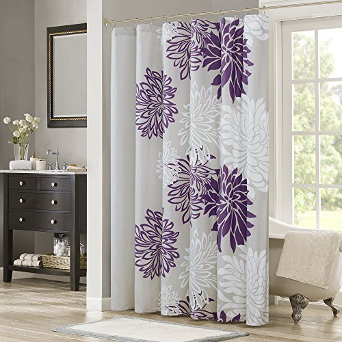 Comfort Spaces Enya Shower Curtain  Purple, Grey  Floral Printed- 72X72 Inches
