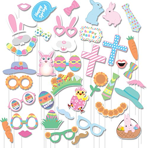 40Pcs Easter Photo Booth Props Colorful Egg Bunny For Festival Party Supplies, Easter Decorations Kit By Lucky Party