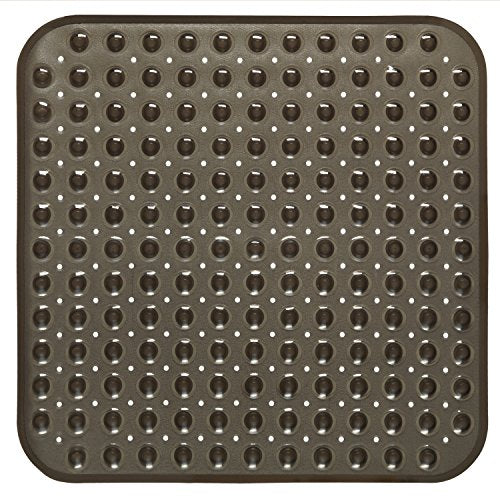 Sweet Home Collection Vinyl Bath Tub Mat Square 21  X 21  With Non Skid Backing Perfect For Shower Stall Black