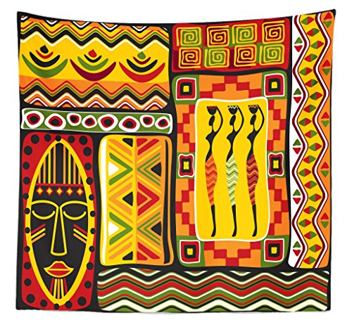 Lunarable African Tapestry Queen Size, African Elements Historical Original Striped Rectangle Shapes Artistic Design, Wall Hanging Bedspread Bed Cover Wall Decor, 88 W X 88 L Inches, Multicolor