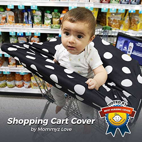 Nursing Breastfeeding Cover / Scarf + Baby Car Seat Cover / Canopy + Shopping Cart / Stroller Cover + High Chair Cover For Infant Girls And Boys. Best 4 In 1 Multi Use Stretchy Covers (Dots)