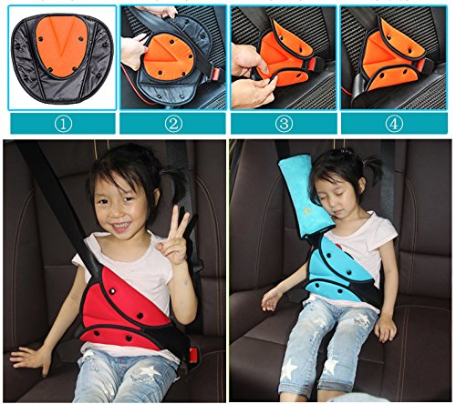 Seatbelt Adjuster, Hontech 2 Packs Seat Belt Safety Covers Seat Belt Positioner For Kids Red + Gray