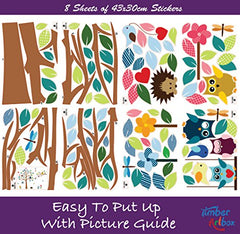 Timber Artbox Cheerful Nursery Wall Decals With Owls & Tree - Best Dcor For Kids Room, Nursery & Playroom