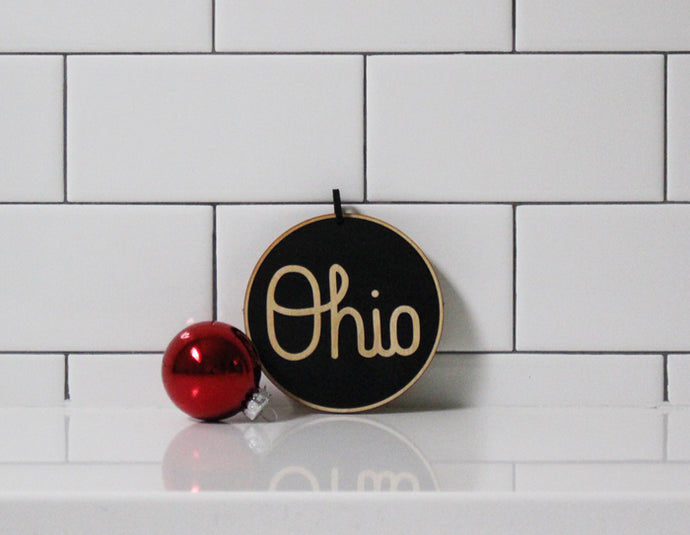 SCRIPT OHIO ORNAMENT