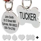 Stainless Steel Pet Id Tags, Personalized Dog Tags & Cat Tags. Up to 8 Lines of Text – Engraved Front & Back. Bone, Round, Heart, Flower, Shield, House, Star, Rectangle, Bow Tie.