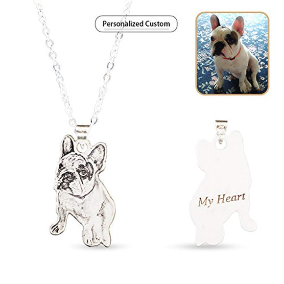 Personalized Pet/Cat/Dog Photo Necklace Pendant Silver Chain Custom Handmade Gift for Men/Women/Girls/Boys