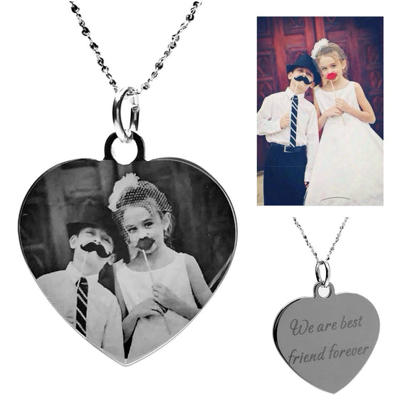 Custom Photo Necklace Heart Shaped Personalized Message Pendant Valentine's Day Birthday Gift