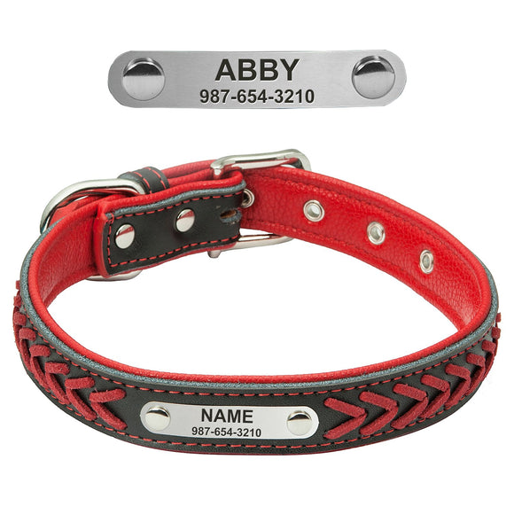 FunTags Personalized Leather Dog Collars,Custom Nameplated Pet Collars,Braided Dog Collars with On Collar Tags