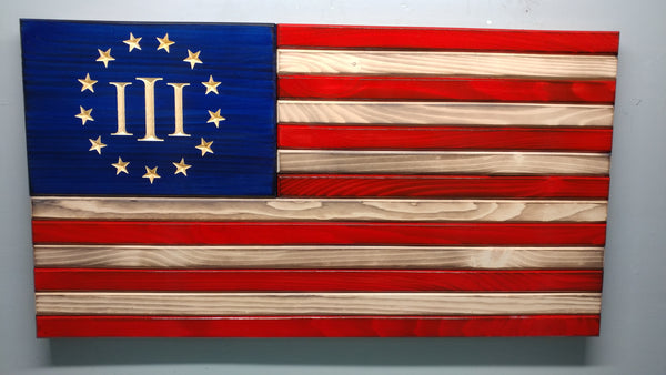 Three Percenter Betsy Ross Classic Wooden Flag