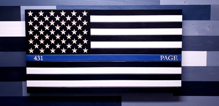 Thin Blue Line Painted Wooden American Flag