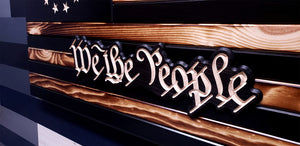 "Betsy Ross 1776 ""We the People"" Subdued Wooden Flag"