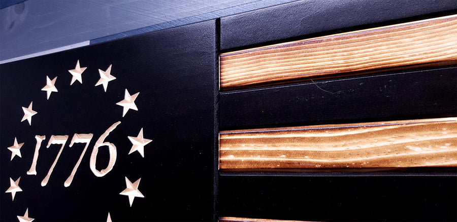 Betsy Ross 1776 Subdued Wooden Flag