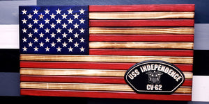 Rustic Traditional Wooden Flag with Custom Emblem