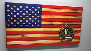 "Rustic ""9/11/01"" Traditional Style Wooden Flag"