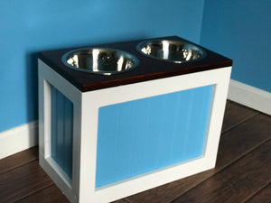 Raised Pet Feeder with food storage