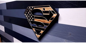 Thin Blue Line Superman Inspired Wooden Flag