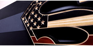 Thin Red Line Superman Inspired Wooden Flag