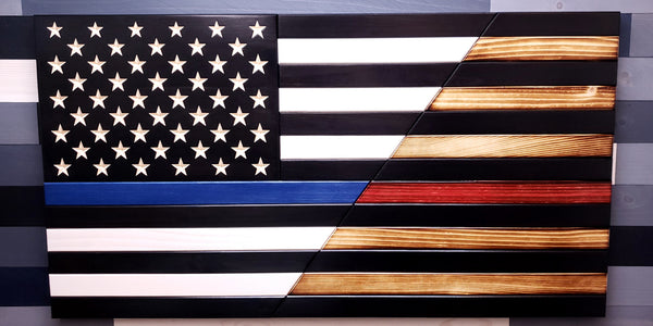 Classic Thin Blue Line/Subdued Thin Red Line Split Flag