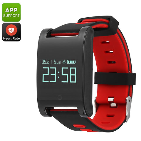 Domino DM68 Bluetooth Smart Bracelet - Blood Pressure, Heart Rate, Pedometer, Distance Tracker, Calorie, Sleep Monitor (Red)
