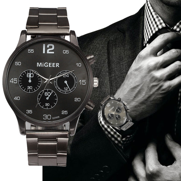 MIGEER Quartz Watch Men's Stainless Steel Mesh Band Watch
