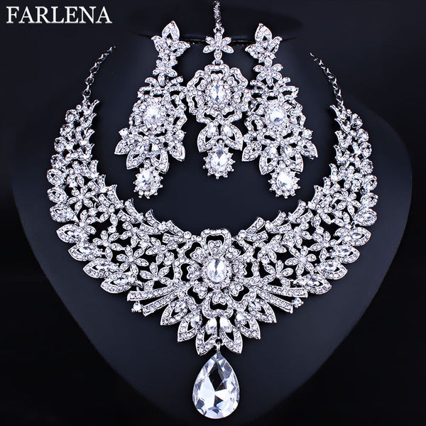 FARLENA Wedding Jewelry Clear Crystal Rhinestones Necklace Earrings and Frontal chain for Bride Indian Jewelry sets
