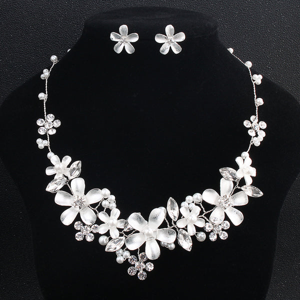 Miallo Wedding Flower Garden Bridal Jewelry Sets Necklaces and Earrings for Brides Handmade Women Jewelry Dress Accessories