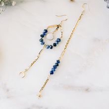 Lapis + Moonstone Asymmetrical Cosmic Dangles