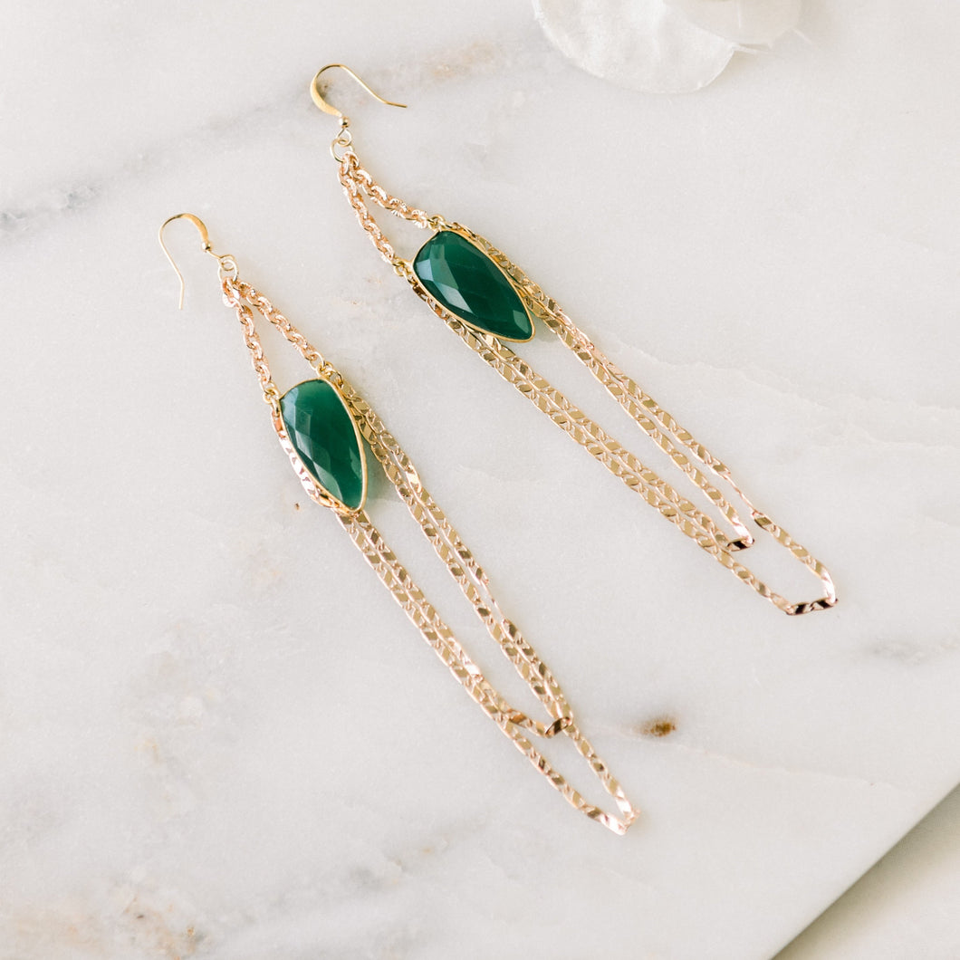 Green Onyx + Rose Gold Chandeliers