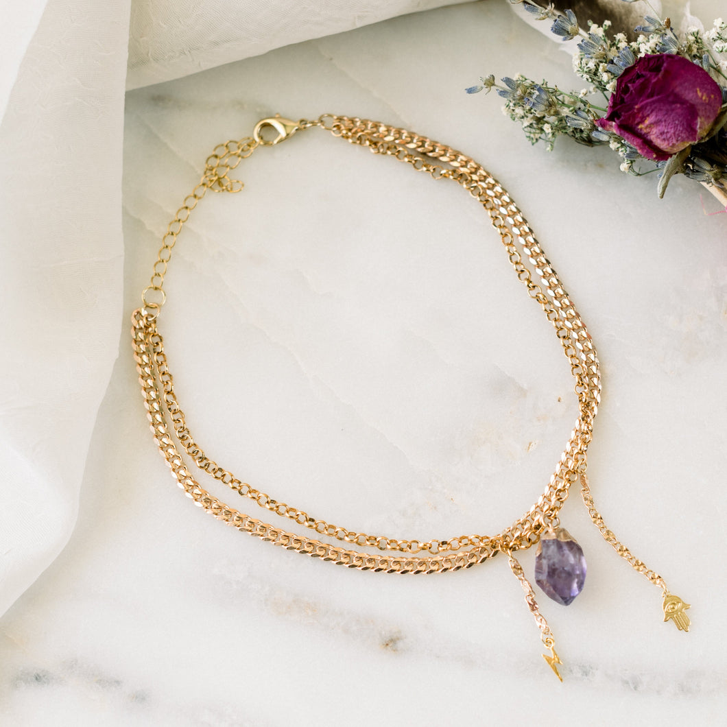 Rose Gold Double Strand Amethyst Choker