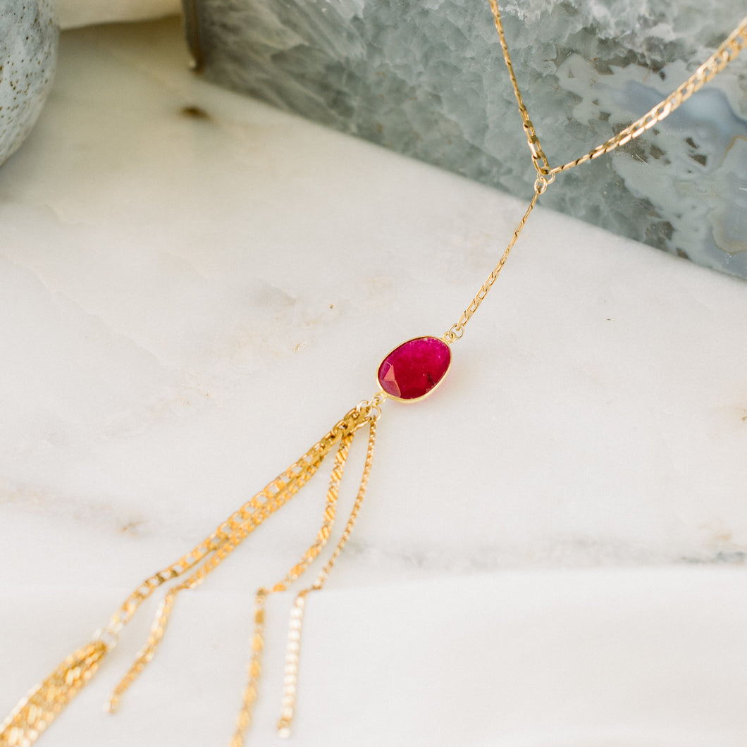 Ruby Jade Fringed Lariat