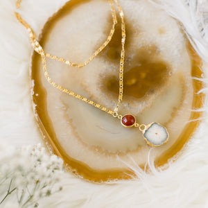 Solar Quartz + Carnelian Double Strand Necklace