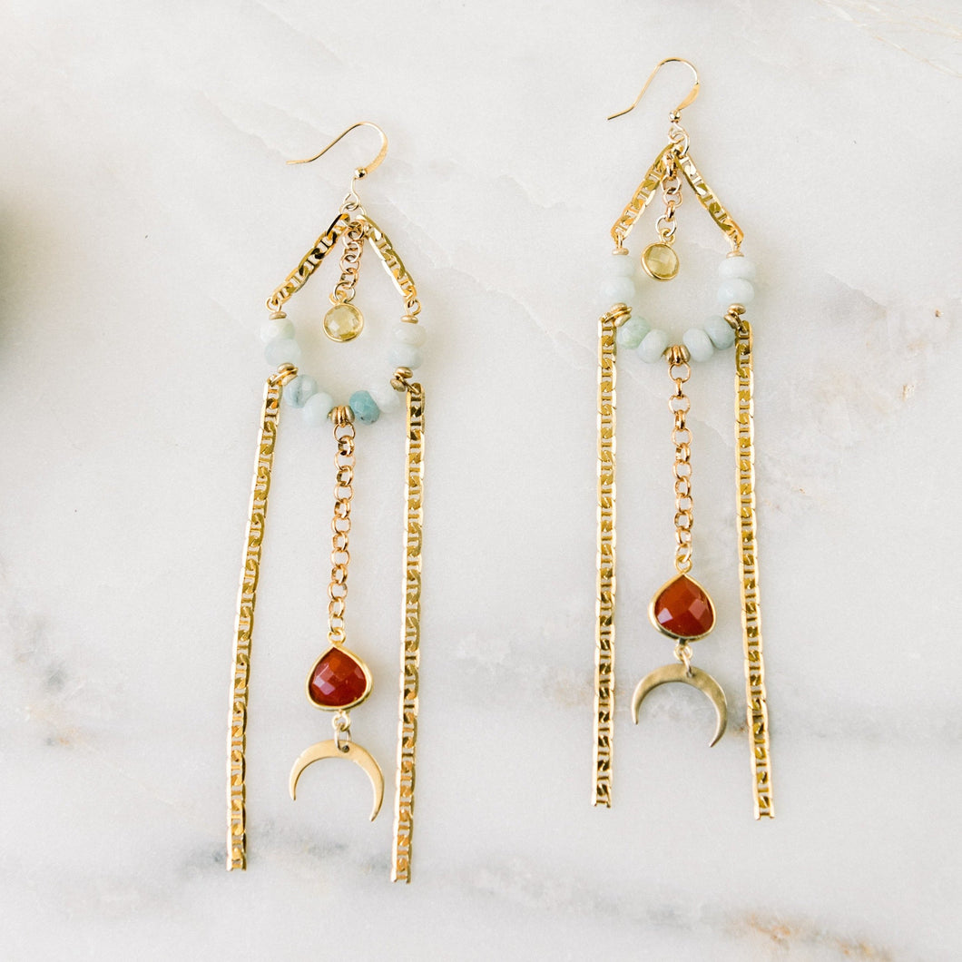 Amazonite + Carnelian Crescent Fringies