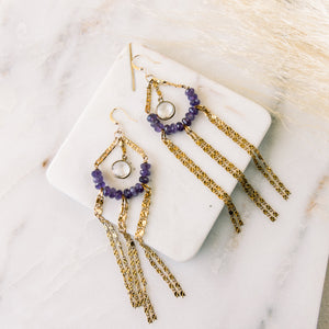 Amethyst + Crystal Quartz Earrings