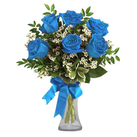 Blue Roses in a Glass Vase; Blue Roses Bouquet