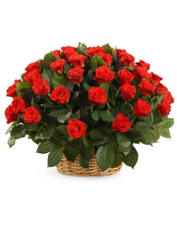 21 Red Roses Basket