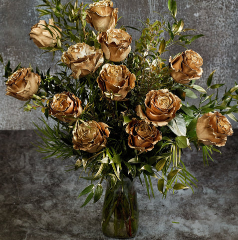 Golden Roses Bouquet in a vase