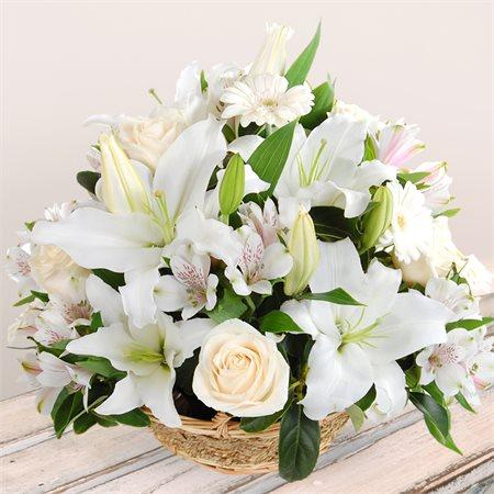 White Flower Baskets