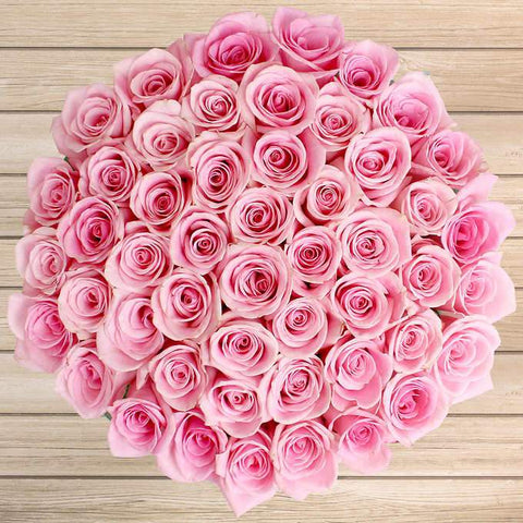 50 pink roses in a vase, pink roses luxurious bouquet