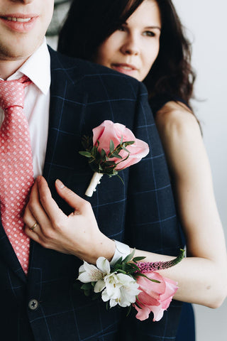 Pink Serenity Corsage and Boutonniere Set