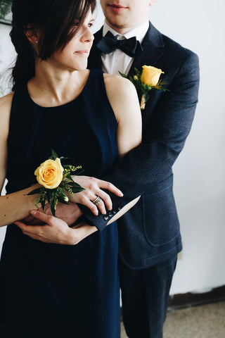 Yellow Sun Corsage and Boutonniere Set
