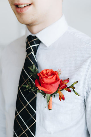Orange Crush Corsage and Boutonniere Set
