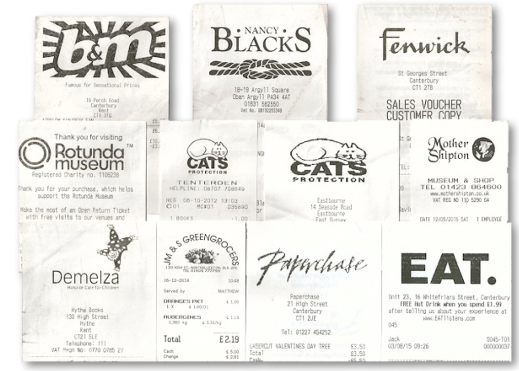 Collecting on a shoestring: till receipts